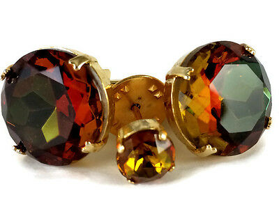Vtg Cufflinks and Tie Pin Gold Tone Round Watermelon Crystal Faceted