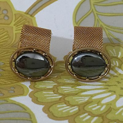 CUFFLINKS Vintage 60s 70s GOLD Tone Mesh MENS Collectable