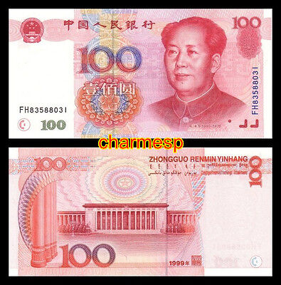 China,100 Yuan,1999 Year,pick 901,UNC,banknote