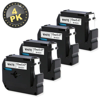 4 x M-K231 MK231 Black on White 12mm x 8m Label Tape for Labeling Brother M Tape