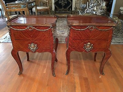 Pair Of Antique French Bronze And Ormolu Mounted Inlaid Side Tables