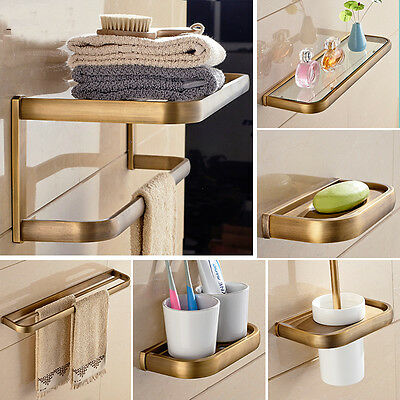Bathroom Antique Brass Accessories Wall Mounted Towel Holder Toilet Paper Holder
