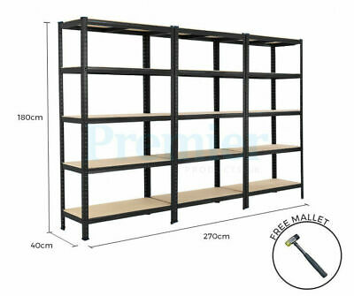 Metal Shelving 3 Bay Racking 5 Tier Heavy Duty Industrial Garage Steel Shelf