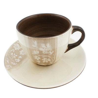 12x Teacup Saucer Gift Set 300ml Ceramic Kitchenware Cafe Brown Flower Stoneag