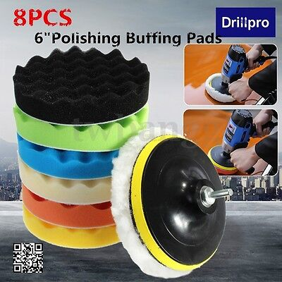 8x 6''150mm Sponge Polishing  Buffing Pads Waxing Kit Compound Auto Car+Drill US