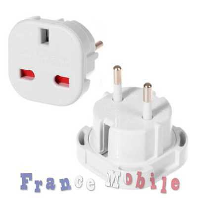 Adaptateur Secteur Prise Anglaise UK per France EU Europe Voyage Adapter Blanc