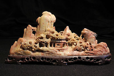 Antique Carved Chinese Soapstone House In The Mountains Statue