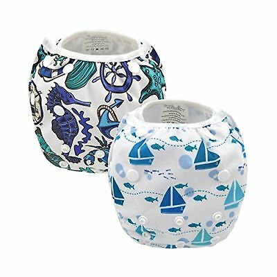 Alva Baby 2pcs Pack One Size Reuseable Washable Swim Diapers SW05-06-CA