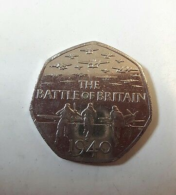 RARE - 2015 • THE BATTLE OF BRITAIN 1940 • UK  Fifty Pence 50p COIN