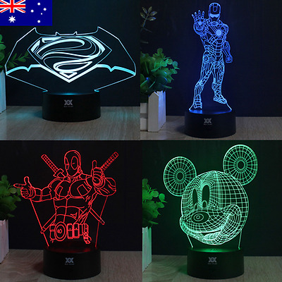 Iron Man 3D LED 7 Color Night Light Touch Switch Desk Table Art Lamp room Gift