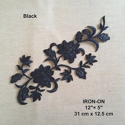 Black Flower Embroidered Iron-on Dress Patch Floral Red Cosplay Blue Applique