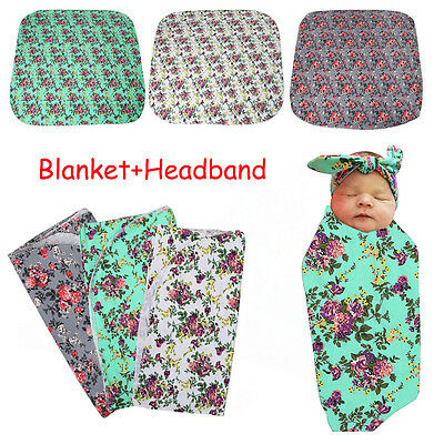 Baby Floral Swaddling Blanket Soft Newborn Infant Swaddle Wrap Towel + Headband