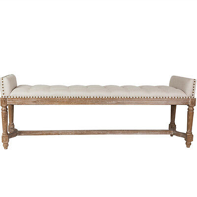 Quincy Upholstered Linen Bed End Bench French Provincial Hampton Beige-Grey Wash