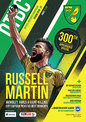 Official Norwich City Fc 2016/17 Programme And Teamsheet Vs Brighton Fc