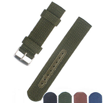New 18/20/22/24mm Army Green or Black Nylon Watch Strap Band Watchband Buckle