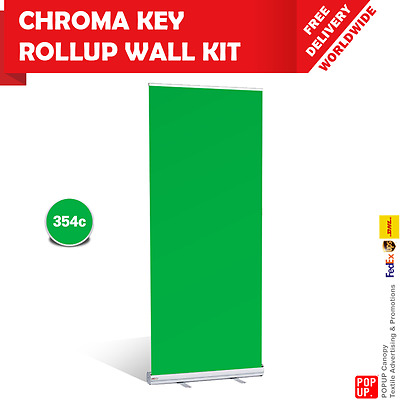 Chroma Key Roll Up Banner Wall Kit - Green Screen