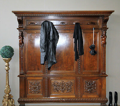 Absolutely Divine Antique Dutch Ornately Carved Timber Huge Hall Hat Coat Stand