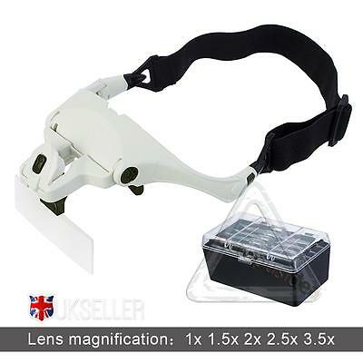 UK  Head Magnifier  Lights Magnifying  glass hands free LED Lamp Headband New