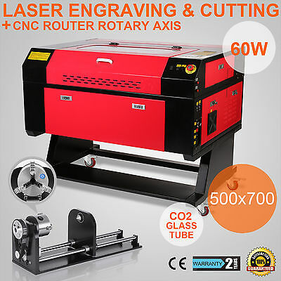 60w 500x700mm Co2 Laser Engraving Cutting Machine Router Rotary Axis Engraver