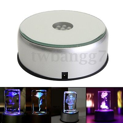 7 LED Colorful Light Unique 3D Rotating Crystal Display Base Stand W/ DC Adapter