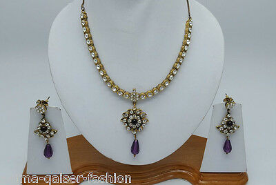 Indian Jewellery Set Purple Clear Stones Gold Plated New - Aq/222