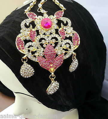 Indian Jhoomar Passa Costume Jewellery Cerise Clear Gold Plated New Aq/jh8