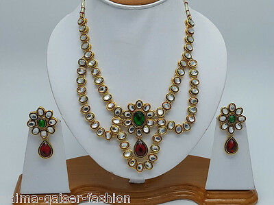 Indian Kundan Costume Jewellery Set Multi Stones Gold Plated New - Aq/217