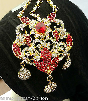 Indian Jhoomar Passa Costume Jewellery Red Clear Gold Plated New Aq/jh6