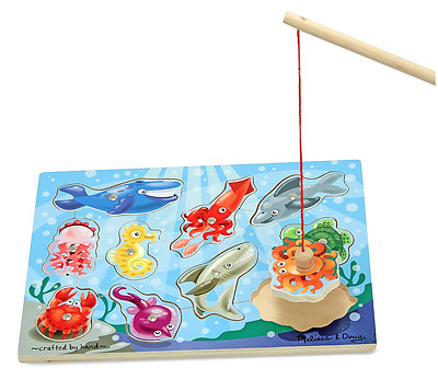Melissa & Doug Magnetic Wooden Fishing Game and Puzzle With Wooden Ocean Animal