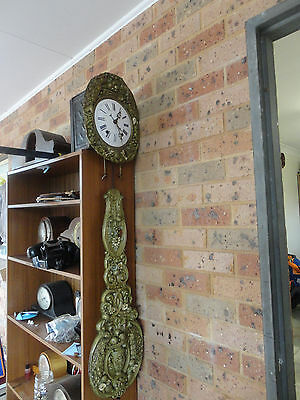 French Antique Comptoise Wall Working Clock c.1880