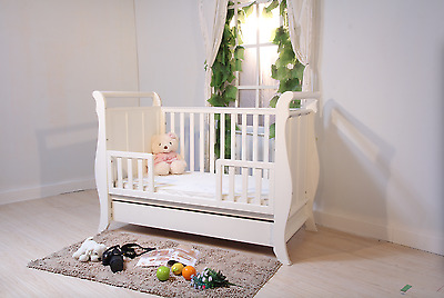 Brand New Package 3in1 Wooden Sleigh Baby Cot + Free New Mattress