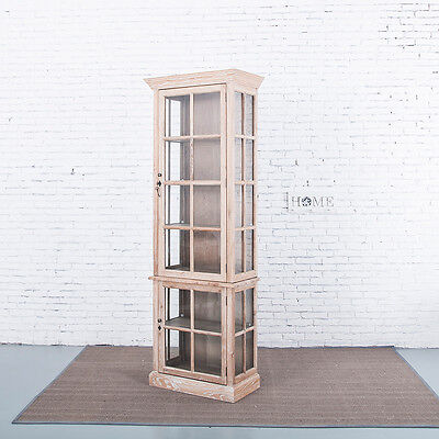Roosa French Provincial Solid American Oak Glass Display Cabinet - White Wash