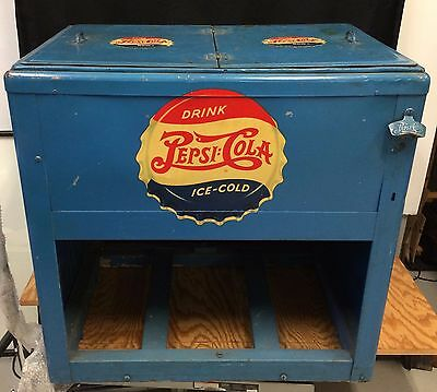 "Antique 1940's Pepsi Double Dot ""Quikold"" Soda Cooler"
