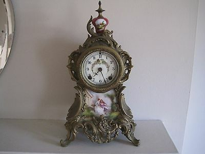Antique French  Porcelain Panel Mantle Clock No Keys for Parts / Repair