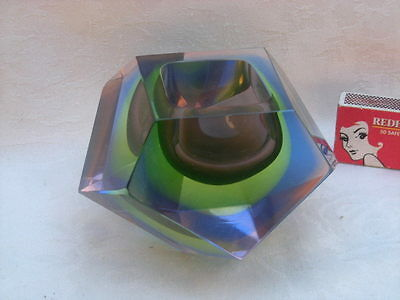 Vintage MURANO Geometric Design Bowl, Vase - Purple, Green, Blue, Venetian Glass