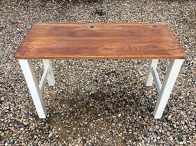 Small Vintage School Children's Double Desk Table Solid Oak - Needs Repainting