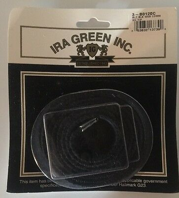 Ira Green Us Military Issue Surplus Web Belt Black W Silver Tip End Made In Usa
