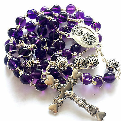 Bali 925 Sterling Silver Beads Amethyst Catholic necklace Wire Wrap Rosary Cross