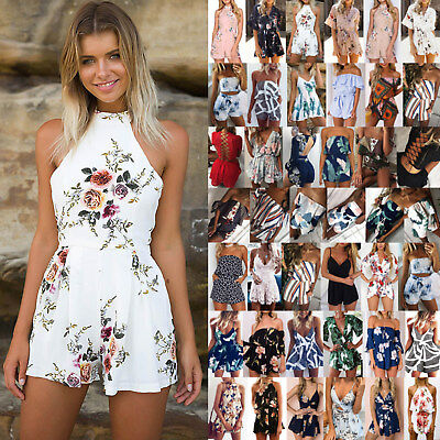UK Womens Holiday Mini Playsuit Ladies Shorts Jumpsuit Summer Beach Dress 6-16
