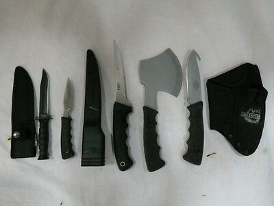 Lot of Assorted Knives Adventuridge Survival Knife & Hatchet Set American Angler