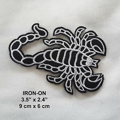 Black White Scorpion Embroidered Iron-on Emblem Badge Patch Spider Applique