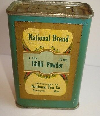 Vintage Antique National Brand Spice Tin Chilli Powder 1 Oz National Tea Co
