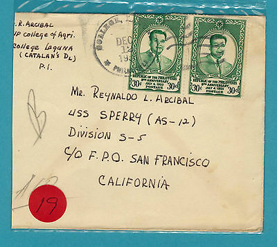 1955 Philippines - USA Cover with Navy Cancel