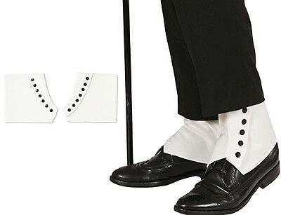 Leather Look White Shoe Cover Spats Gangster Gatsby Look Button Sinatra 20's