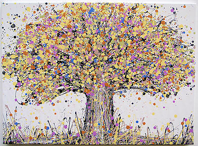 Large Abstract Yellow & Brown Oak Tree & Flowers Modern Art Painting On Canvas