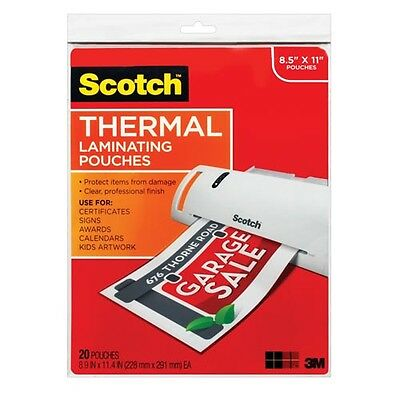"Scotch Thermal Laminating Pouches  - 8-1/2 X 11"": 20-Count"
