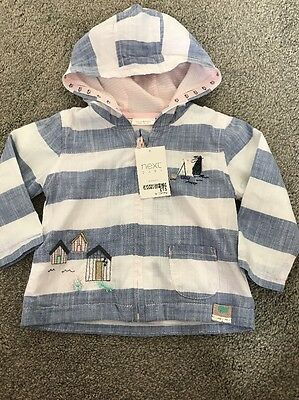NEW Baby Girl Summer Striped Hoodie Jacket Coat NEXT Age 9-12 Months