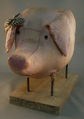 Country Pink Fabric Resin PIG HOG FIGURINE Rustic Shabby Chic Style Farm
