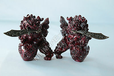 Feng Shui Chinese Faux Red Wood Fu Foo Dog Home Protection Lions Guardians Pair