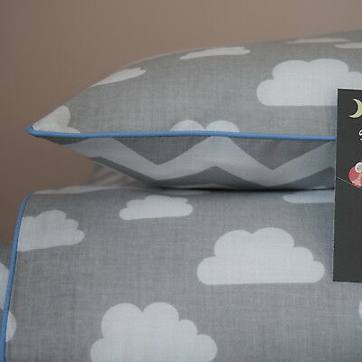 100%COTTON Single Cot Bed Duvet  Set Girls Boys Grey Chevron Clouds reversible